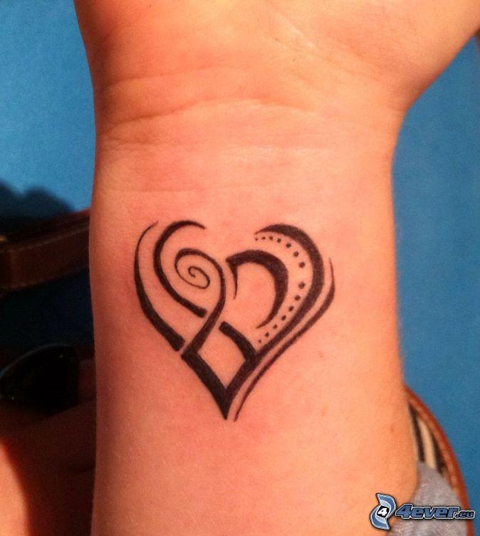 tatuering, hjärta