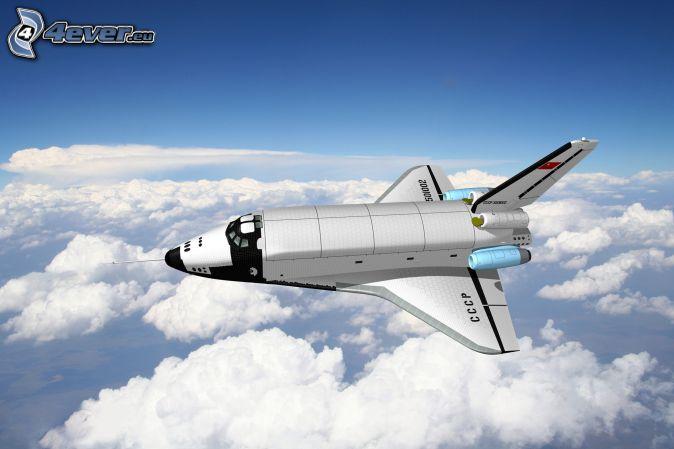 raket, ovanför molnen