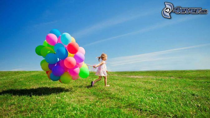 flicka, ballonger, äng