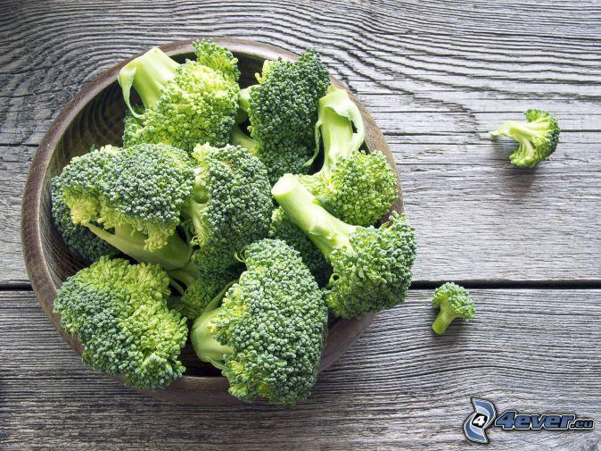 broccoli, skål, trä