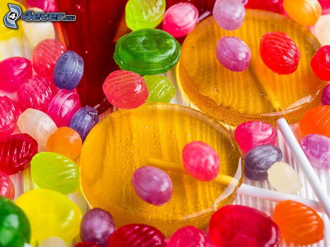 färgglatt godis, färgglada klubbor