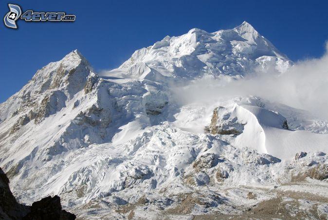Cho Oyu, snöigt berg, moln