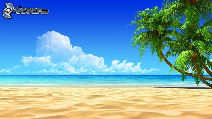 öppet hav, sandstrand, palmer, tecknat