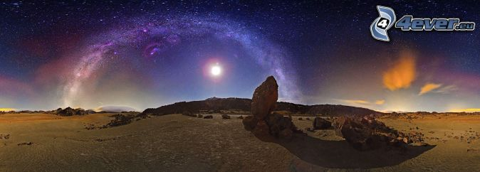 natt, klippor, måne, Vintergatan