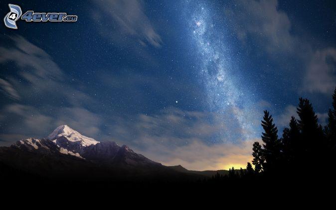Vintergatan, siluetter av träd, snöigt berg