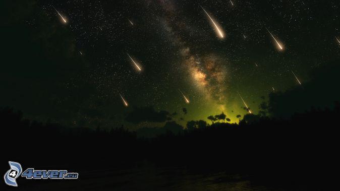 meteoriter, natthimmel