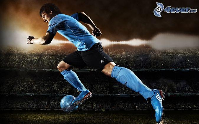 fotbollsspelare, stadion, boll