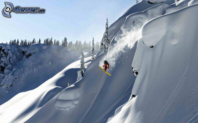 snowboarding, hopp, snöigt landskap