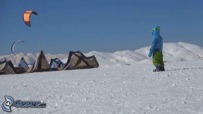 tält, fallskärm, snöigt landskap, figur