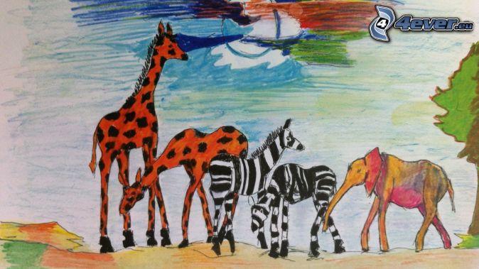 djur, giraffer, zebror, elefant