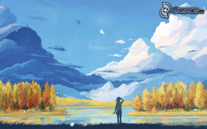 Landskap sjö färggranna träd moln tjej