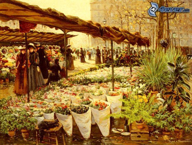 marknadsplats, blommor, människor