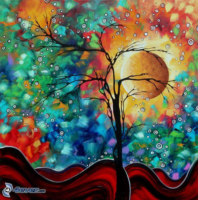 siluett av ett träd, måne, cirklar, vågor