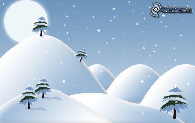 snöiga kullar, snöklädda träd, sol, snöfall