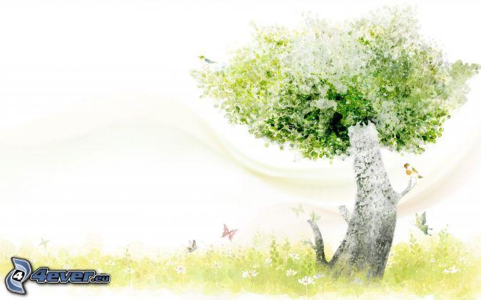 träd, fjärilar