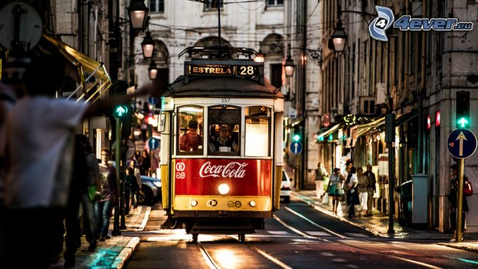 spårvagn, kvällsstad, gata, Coca Cola