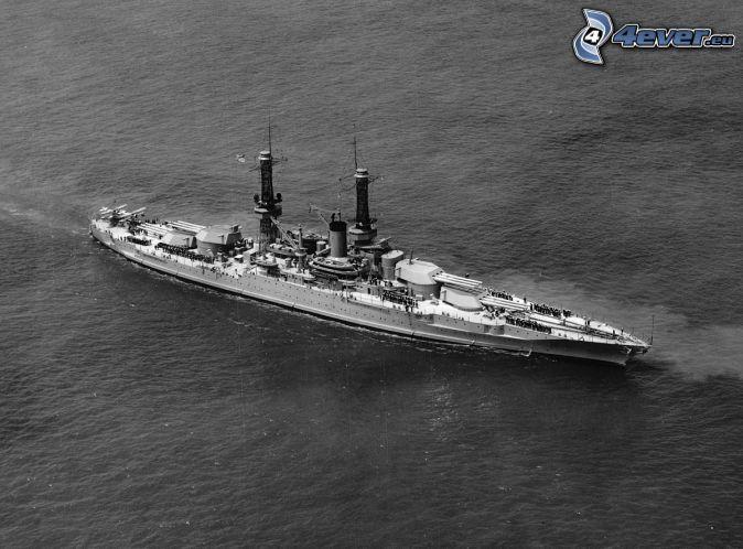 USS Idaho, svartvitt foto