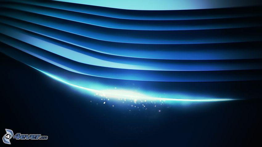 abstrakt, blå remsor