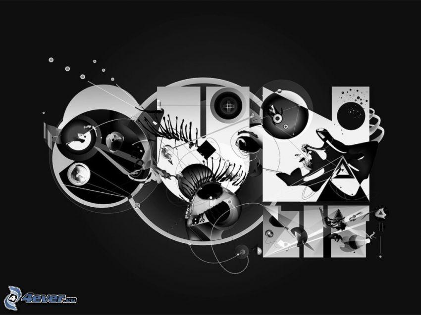 abstrakt, svart och vitt