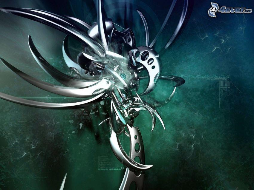 abstrakt form, metall