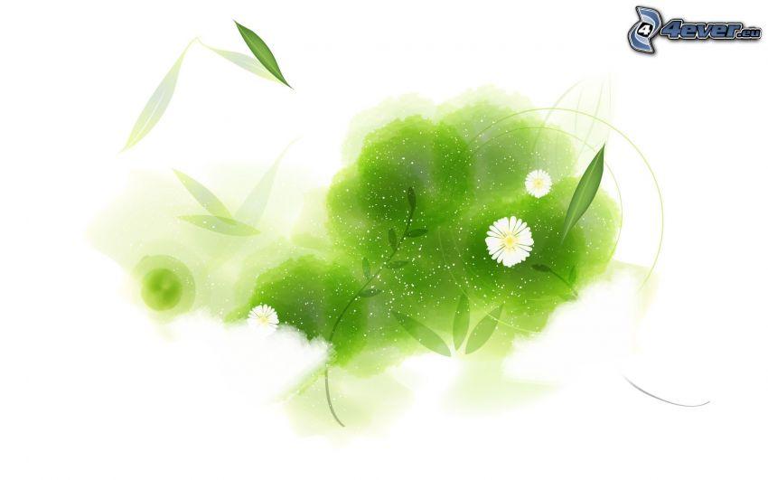 abstrakta blommor, abstrakta blad