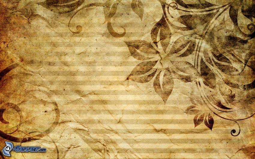 abstrakta blommor, bälten, papper