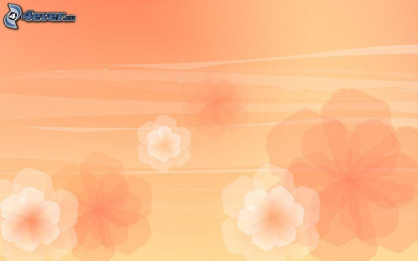 abstrakta blommor, orange bakgrund