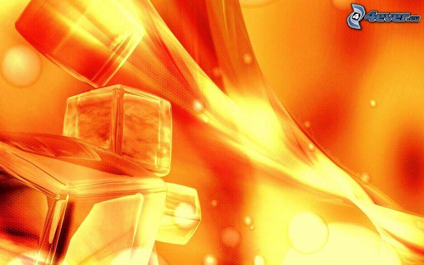 abstrakta kuber, orange bakgrund