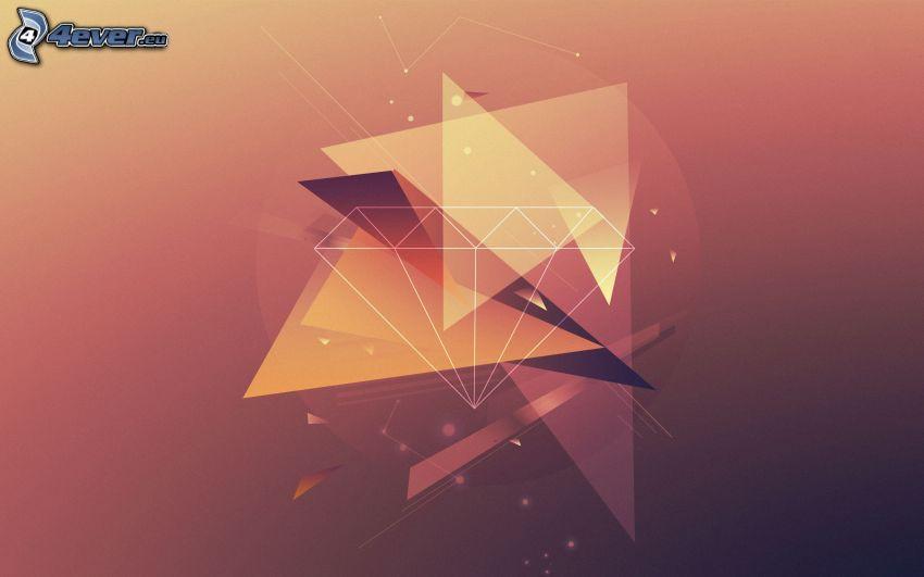 abstrakta trianglar, diamant