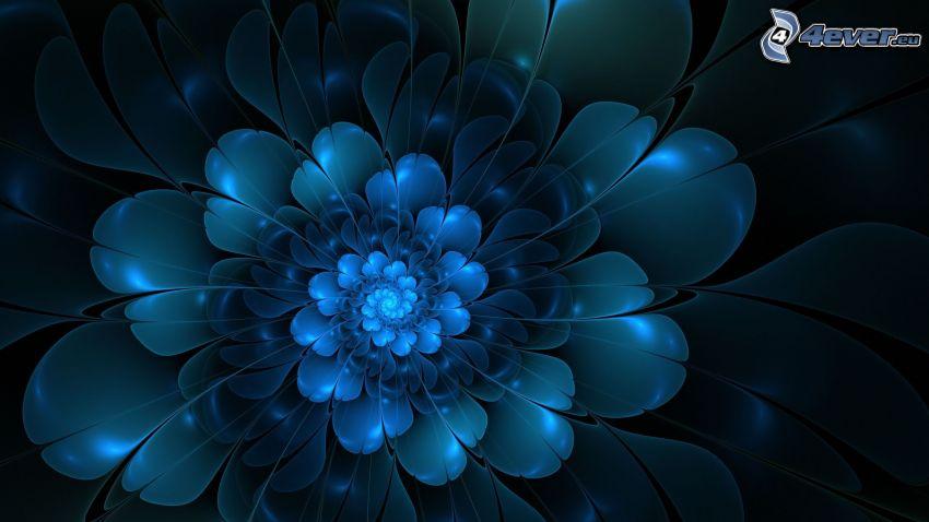 digitala blommor, blå bakgrund