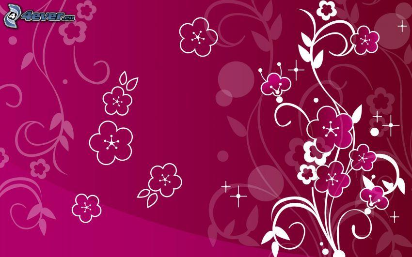 digitala blommor, rosa bakgrund