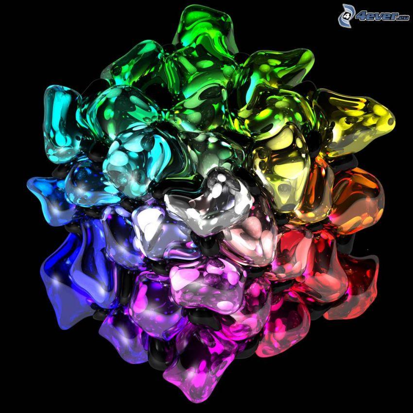 färgat, glas