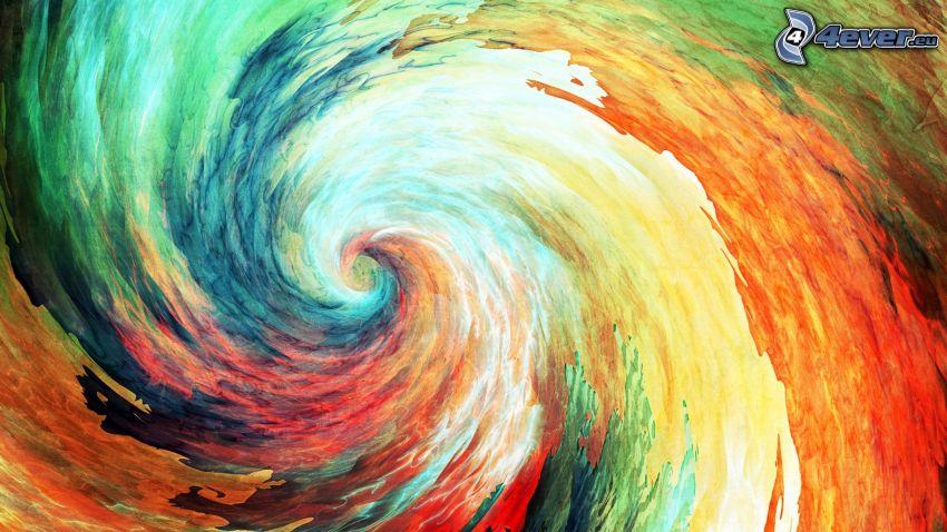 färgfläckar, färger, spiral