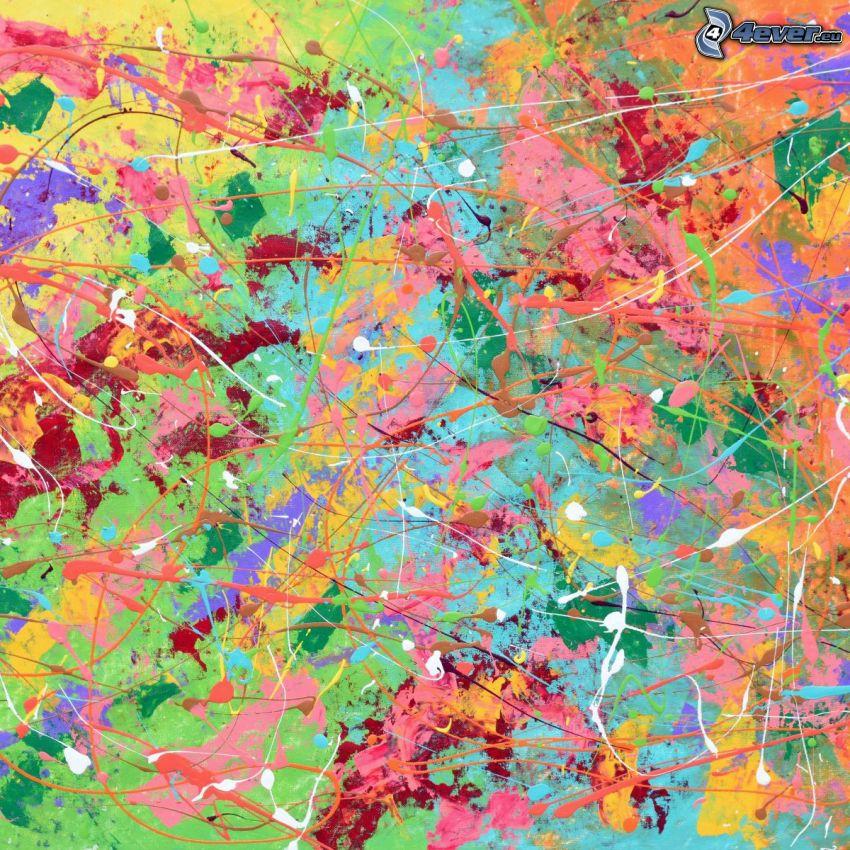 färggranna linjer, färgfläckar