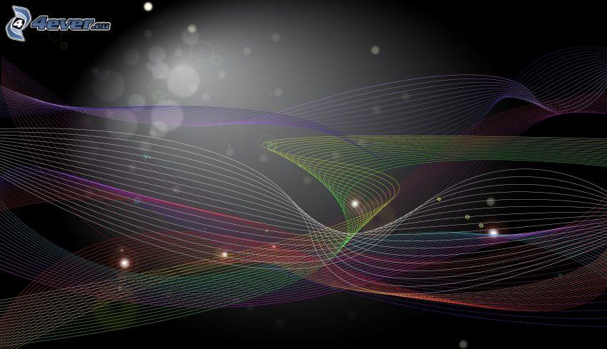 färggranna linjer, svart bakgrund