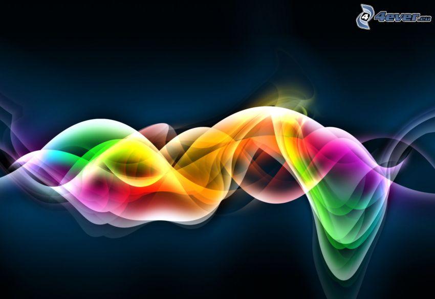 färggranna vågor, regnbågsfärger