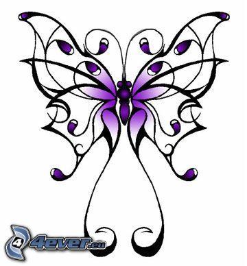 fjäril, tatuering, tattoo, lila