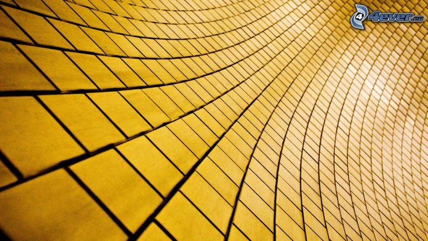 fyrkanter, gul, vägg