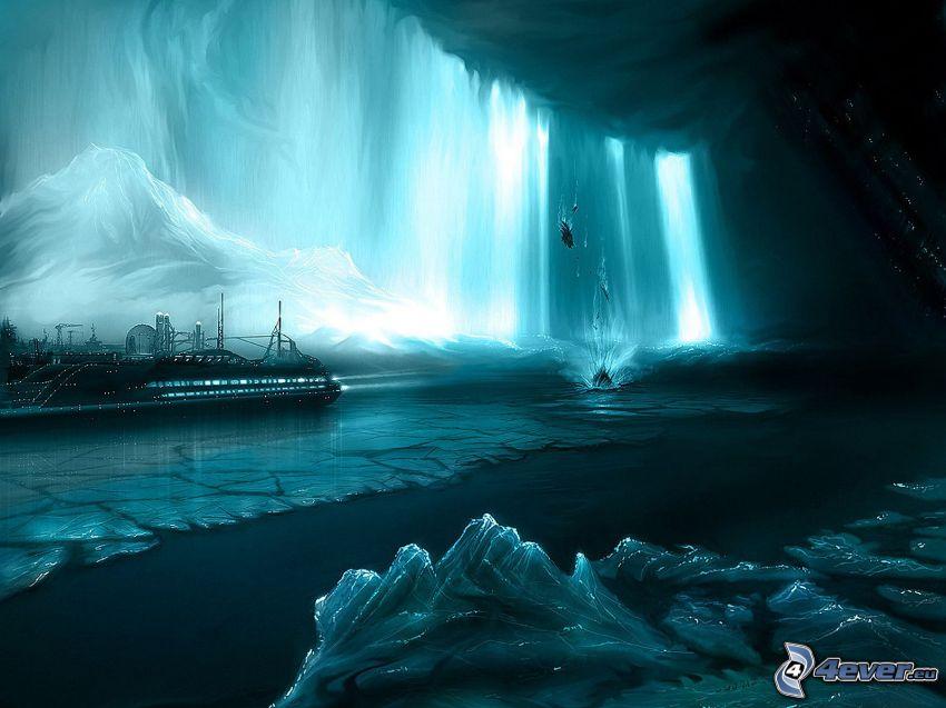 glaciärer, båt