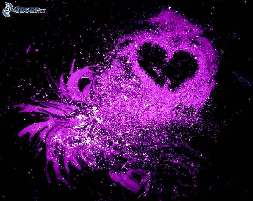 lila hjärta, fläckar