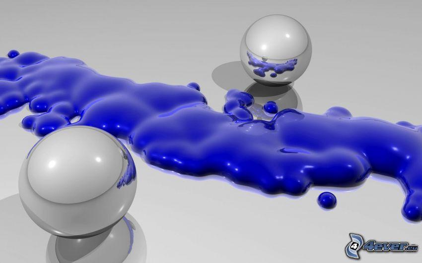 metalliska kulor, fläck, blå färg