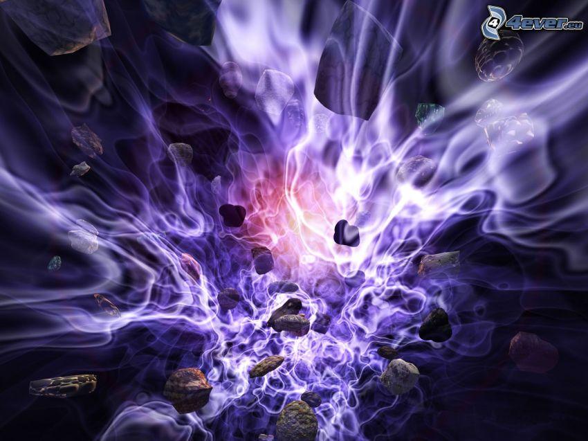 planet supernova, färg, lila, explosion
