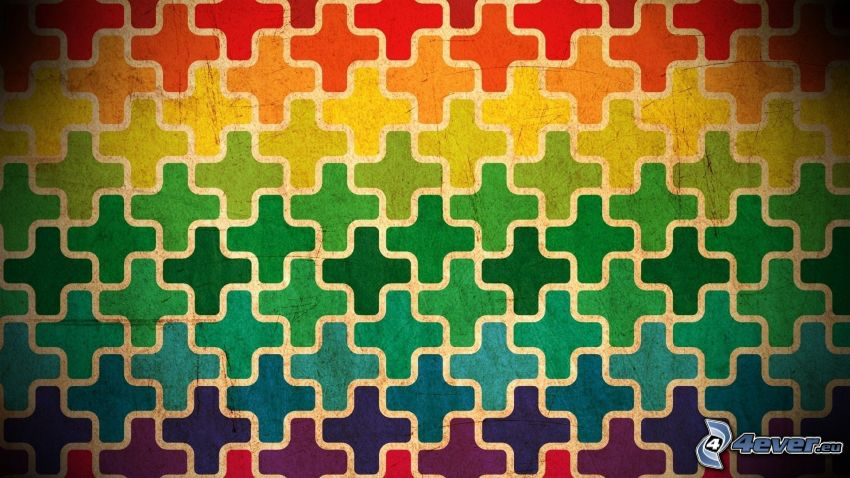 puzzle, abstrakta former