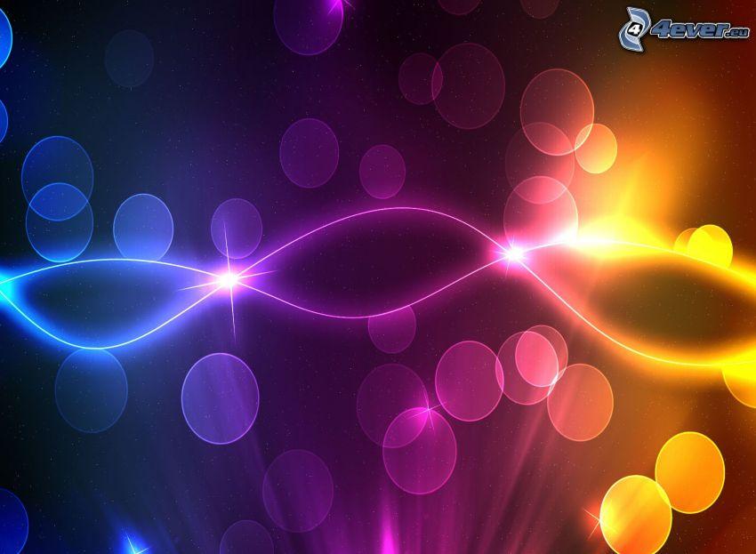 regnbågsfärgade linjer, cirklar, färggrann abstraktion