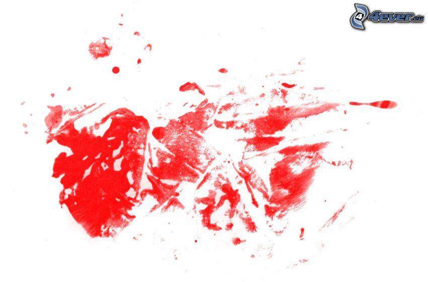 röd färg, fläckar