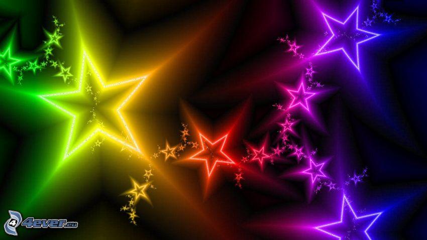 stjärnor, regnbågsfärger