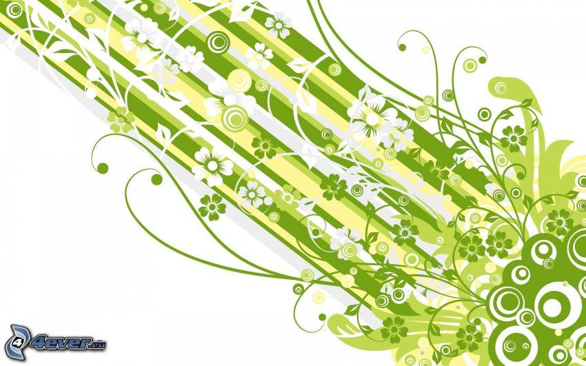 tecknade blommor, gröna remsor, vita ränder