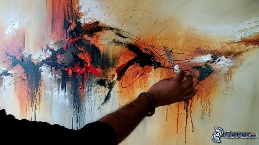 teckning, abstrakt, vägg