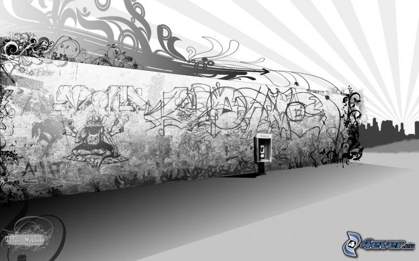 vägg, gata, graffiti, stad