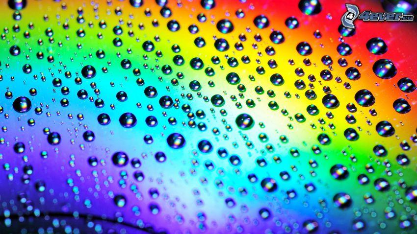 vattendroppar, regnbågsfärger